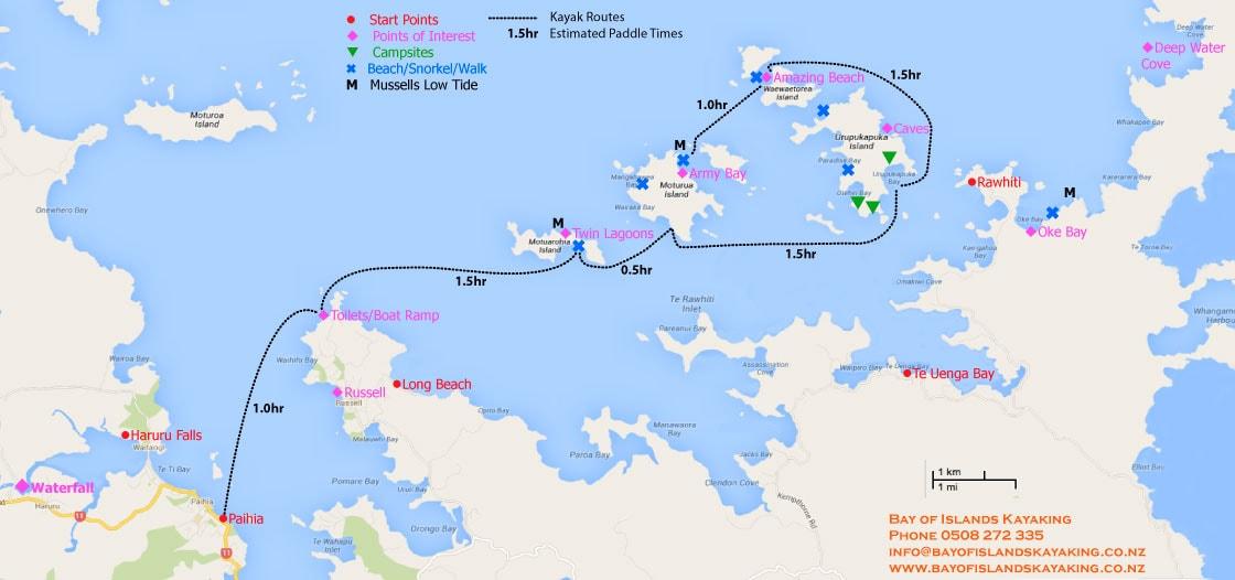 Bay of Islands kayaking map